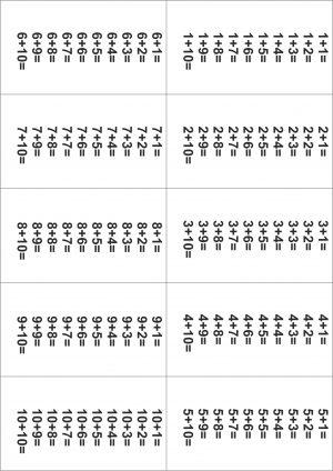 Распечатать таблицу сложения без ответов от 1 до 10