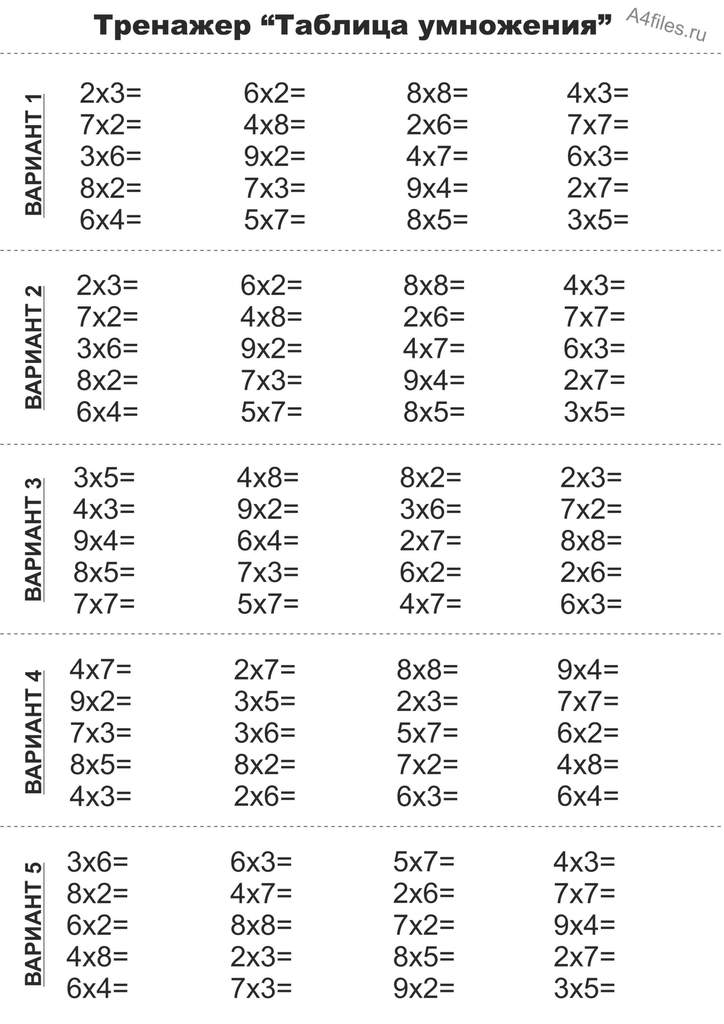 примеры на таблицу умножения без ответов распечатать