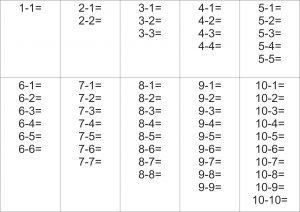 Таблица вычитания от 1 до 10 без ответов