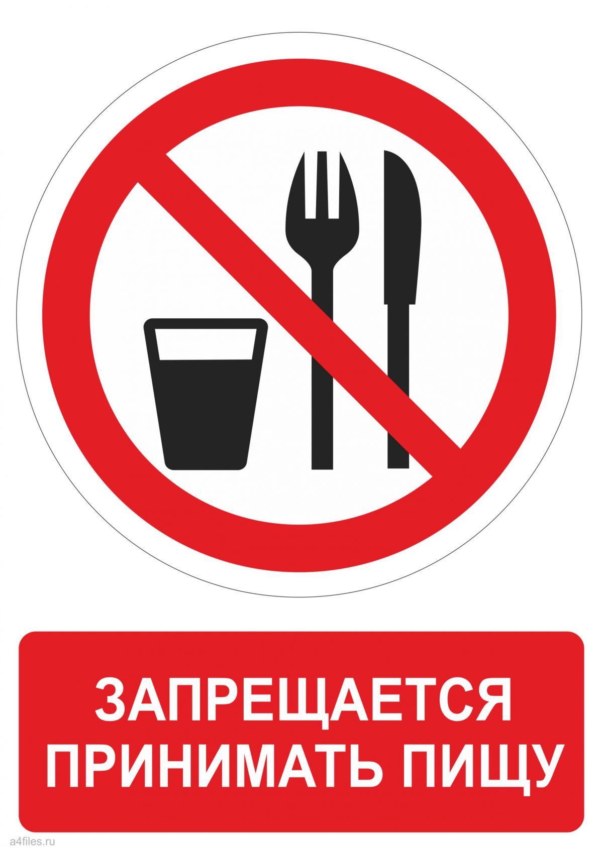 Знак запрещающий принимать пищу