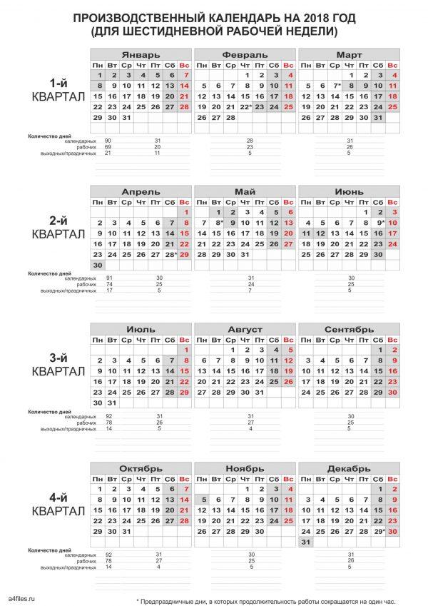 Производственный календарь 2018 для 6-ти дневной рабочей недели