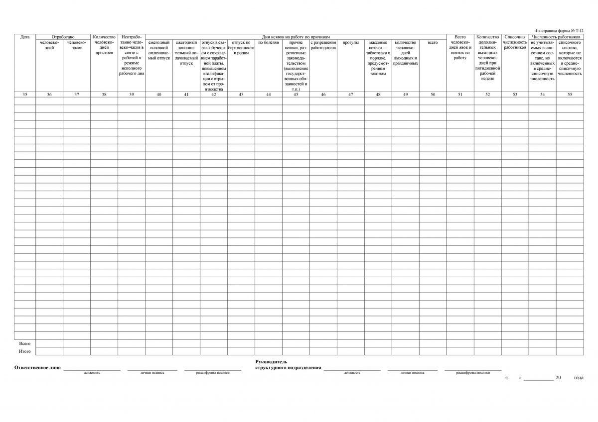 Табель учета рабочего времени Т-12 - страница 4
