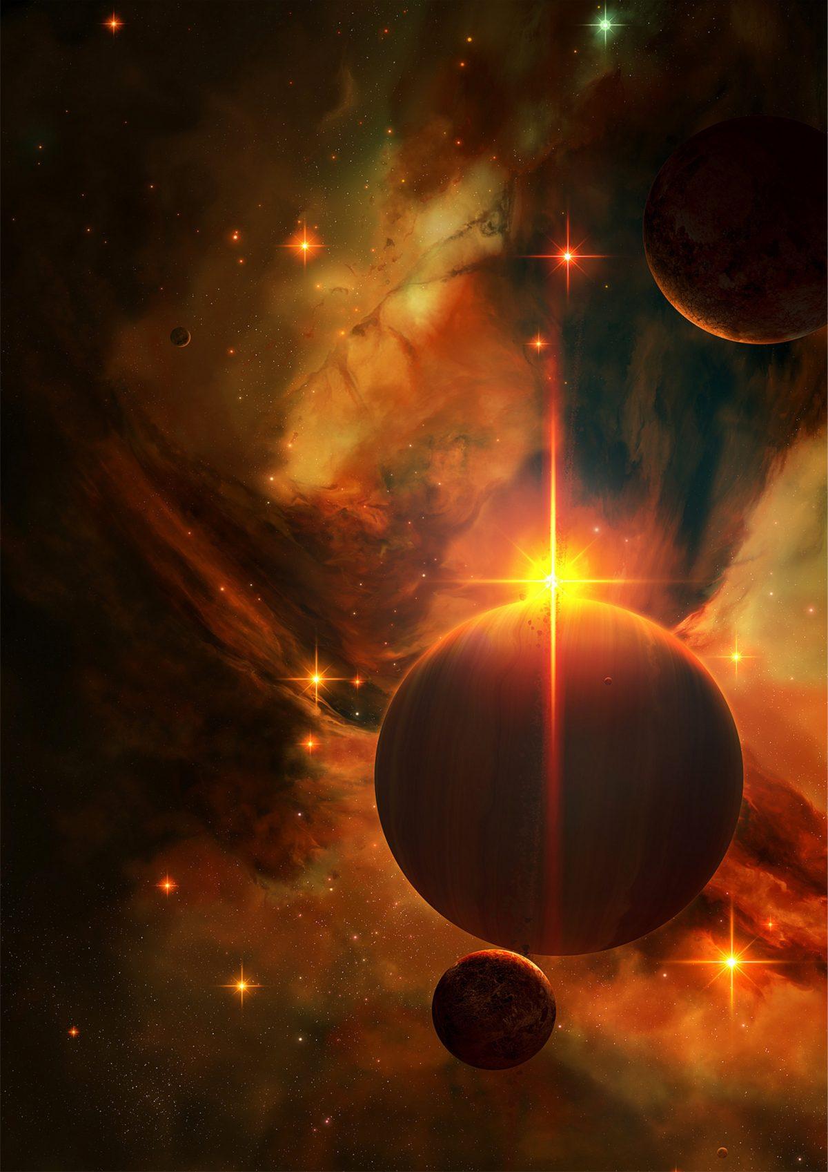 Картинка планеты - красный космос распечатать