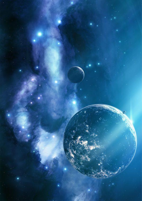 Картинка космоса в синем скачать