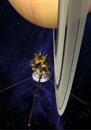 Картинка - спутник возле Сатурна скачать
