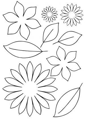 Цветы и листики для вырезания распечатать