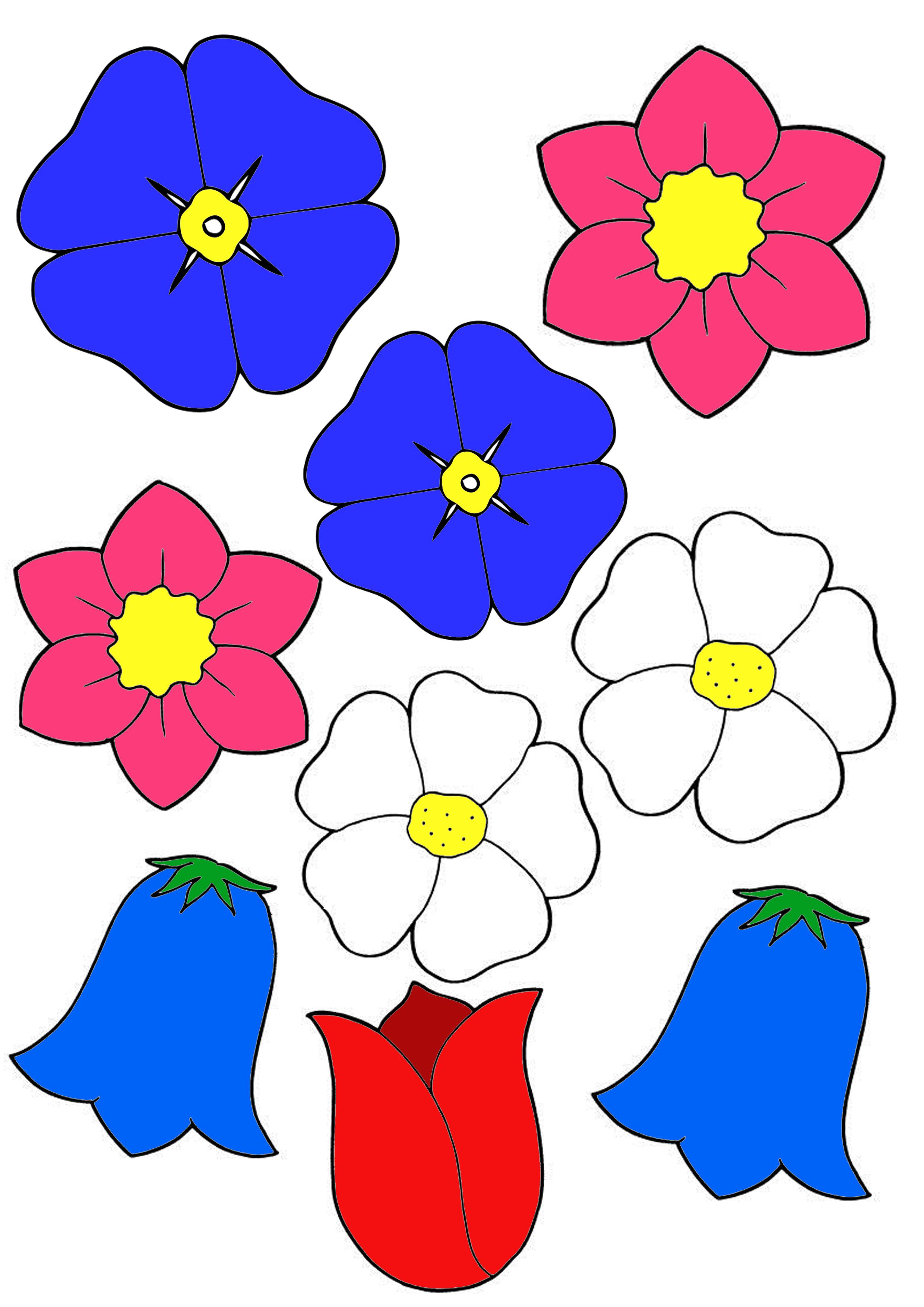 Сделать, цветочки картинки для вырезания цветные